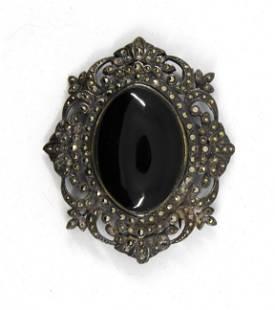 Victorian Silver Brooch W Onyx, Marcasite