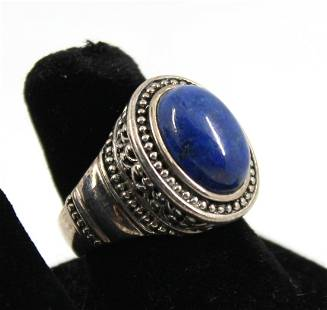 Silver Tribal Lapis Lazuli Ring
