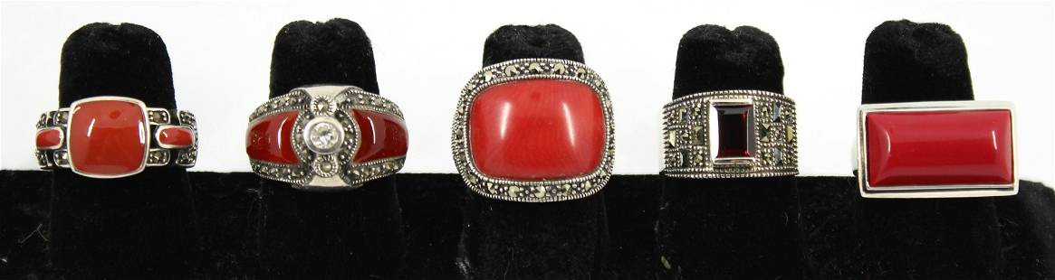 Silver, Coral, Garnet, Agate & Other Rings, 5