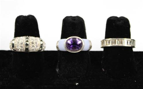 Group of Silver Colored Stone Rings, 3