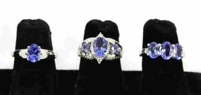 Silver & Tanzanite Diamond Rings, Group of 3