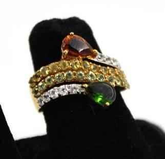 Ring with Citrine, Peridot, Topaz and Quartz
