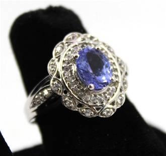 Silver, Tanzanite & Diamond Cocktail Ring