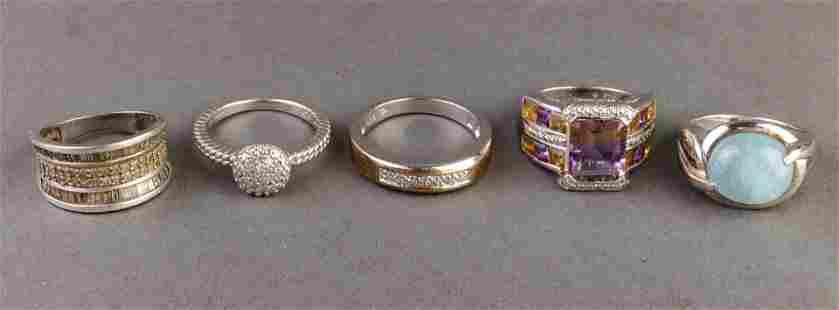 Silver, Diamond, Ametrine & Jade Rings, 5
