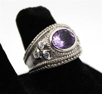 Judith Ripka Amethyst, CZ, & Silver Ring