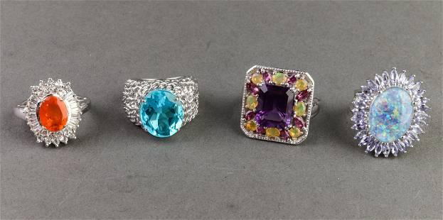 Fire Opal Amethyst Opal Quartz & Tanzanite Rings 4