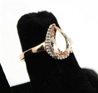 Rose Gold Plated Silver Morganite Ring