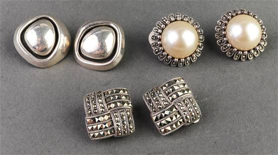 Silver Faux Mabe Pearl & Marcasite Earrings, 3