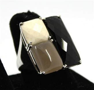 Sterling Silver Ring with Agate, Onyx and Calcite