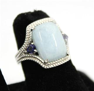 Sterling Silver, Jade and Tanzanite Ring