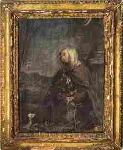Continental School Oil, Portrait of a Saint