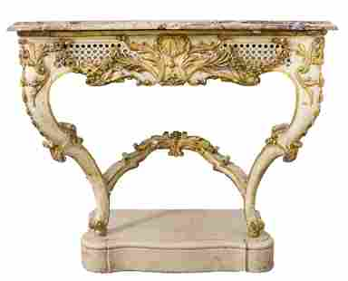 French Rococo Revival Marble Top Console Table