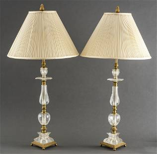 English Regency Rock Crystal & Gilt Bronze Lamps