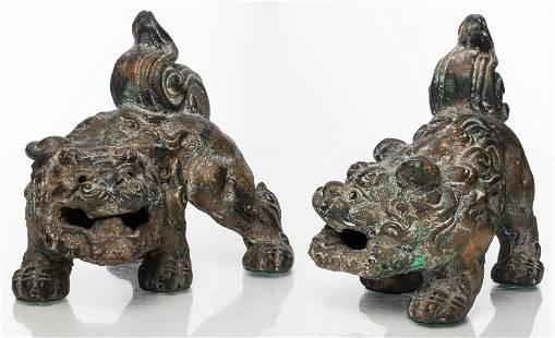 Chinese or Tibetan Crouching Foo Dogs, Pair