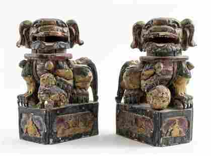 Chinese Parcel Gilt & Polychrome Wood Foo Dogs, Pr