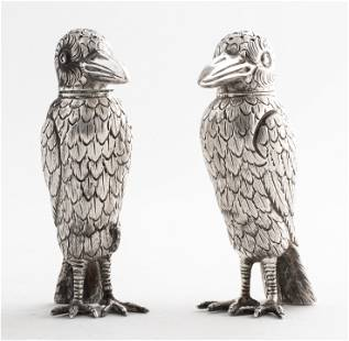 Tiffany Manner Sterling Silver Bird Shakers, Pair