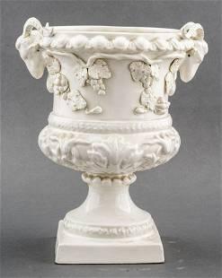 Spanish White Ceramic Floral Planter