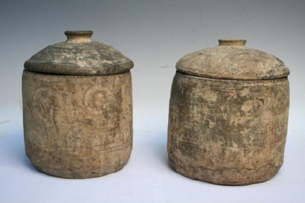 Pair Chinese Han Dynasty Painted Lidded Jars