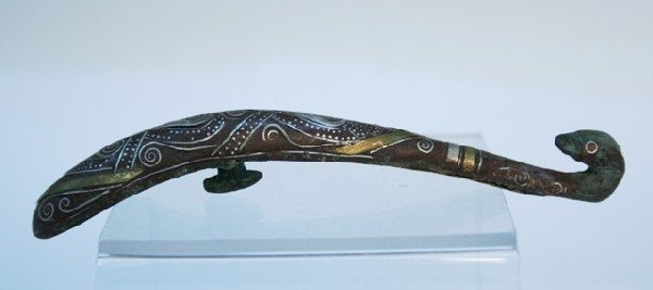 Han Chinese Bronze Belt Hook with Silver Inlay