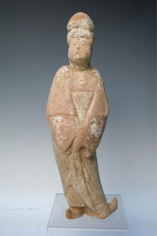 Chinese Tang Dynasty Court Lady Pottery Sculpture