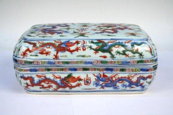 Ming Chinese Wanli Wucai Porcelain Lidded Box