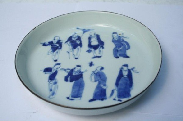 Chinese 8 Immortal Gods Blue-&-White Plate 19th C.
