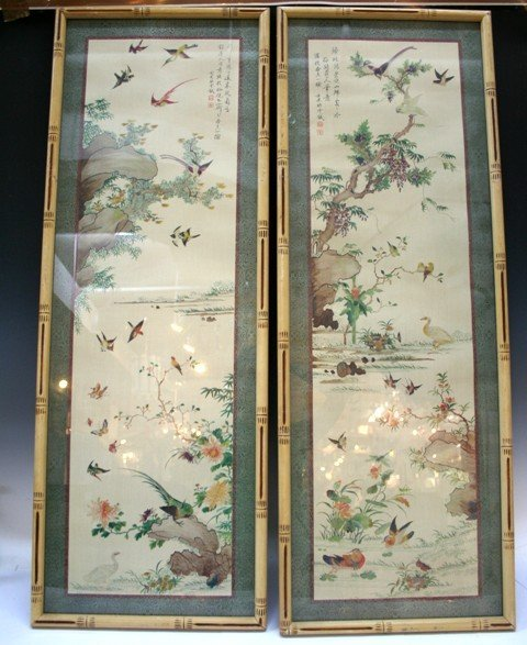 Pair of Chinese Qing Dynasty Silk Paintings Bamboo