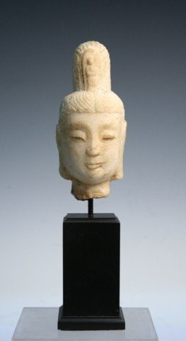 Chinese Tong-style Carved Buddha Bust Qing Dynasty