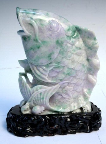 Chinese Tri-Colored Jadeite Carved Koi Fish Sculpture