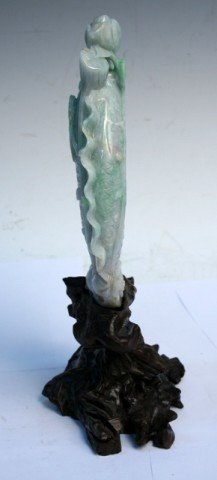 Chinese Tri-Colored Jadeite Koi Fish Carving w/ Stand - 4