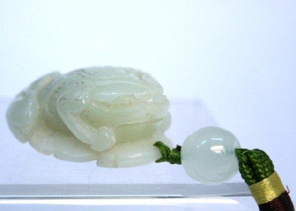 Chinese Carved Jade Frog Pendant - 2