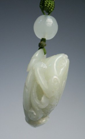 Chinese Carved Jade Frog Pendant - 7