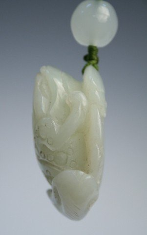 Chinese Carved Jade Frog Pendant - 8