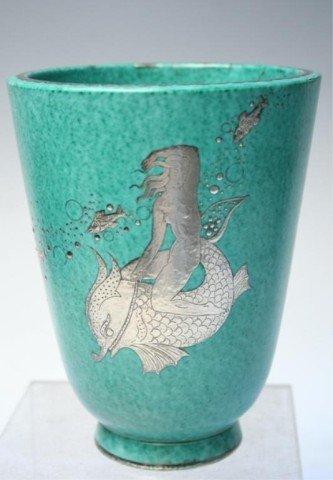 Gustavsberg Argenta Kage Vase w/ Silver Overlay