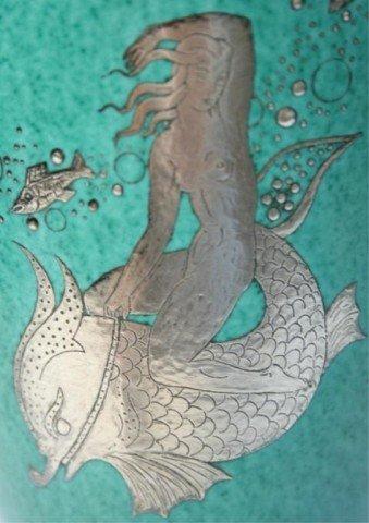 Gustavsberg Argenta Kage Vase w/ Silver Overlay - 5