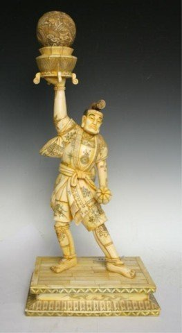 Chinese Ivory/Bone Painted Sculpture of Strong Man