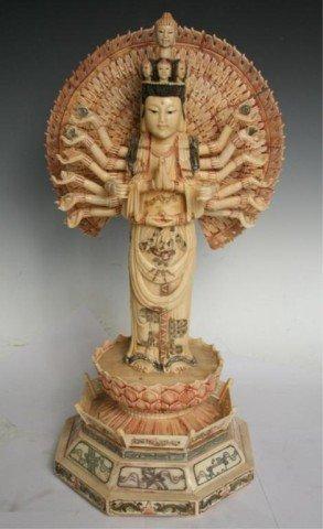 Chinese Ivory/Bone Thousand-Hand Guanyin Sculpture