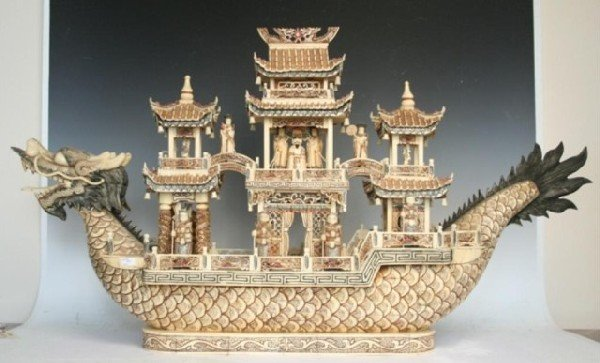 Chinese Ivory/Bone Dragon Ship & Imperial Soldiers