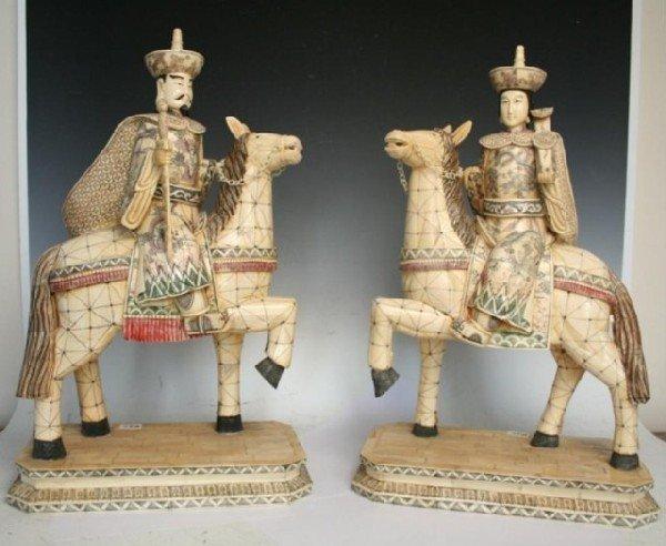 Pair Chinese Ivory/Bone King & Queen on Horseback
