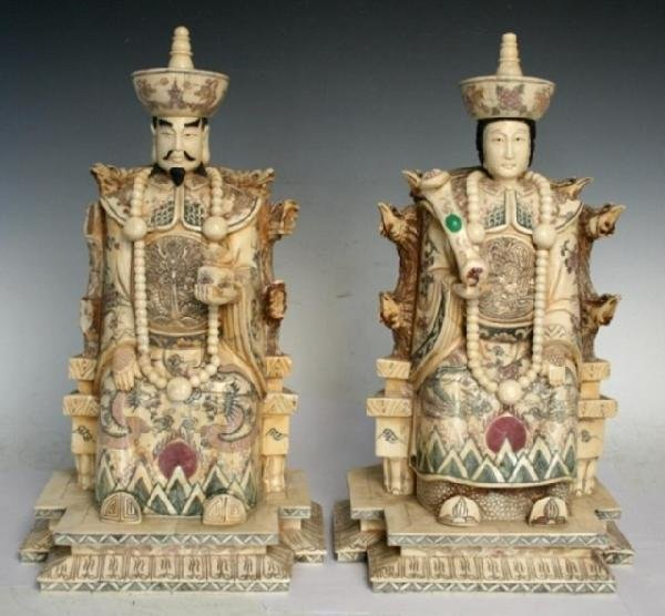 Pair of Chinese Ivory/Bone King & Queen on Thrones