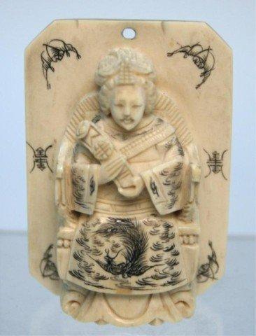 Vintage Carved Ivory Pendant with Empress