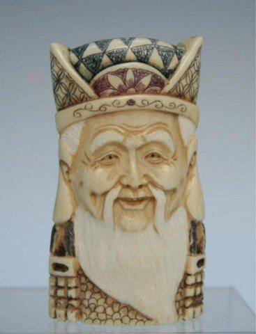 Vintage Carved Ivory Pendant of Elder