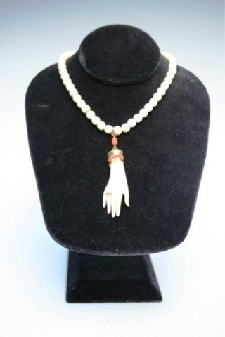 Beaded Ivory Necklace with Carved Hand Pendant