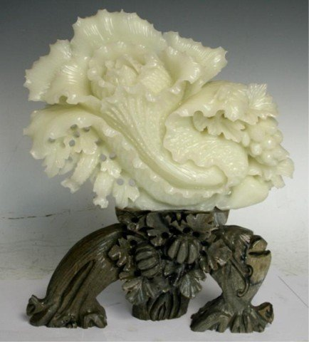 Chinese Green & White Jade Fruit & Vegetal Carving