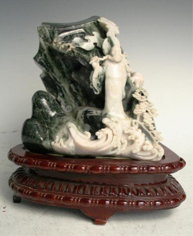 Chinese Jade Carving of a Mountain Scene on Stand