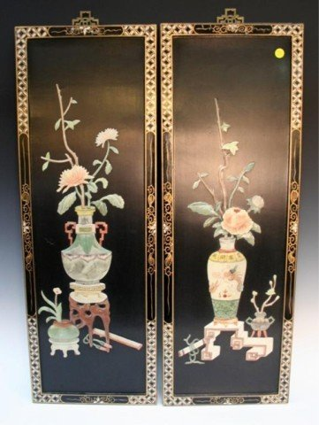 Pair of Chinese Inlaid Jade Wood Plaques 20th C.