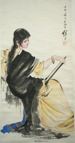 Chinese Liu Jiyou Scroll Painting of Woman