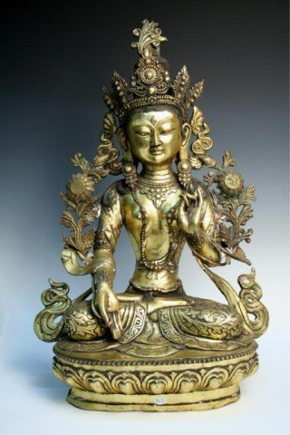 Tibetan Gilded Bronze Seated Buddha Early 20th Century