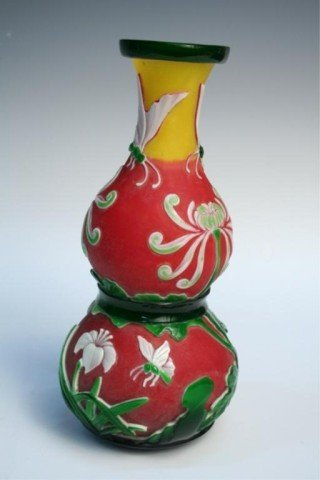 Chinese Peking Cut Glass Double-Gourd Vase Ca. 1900