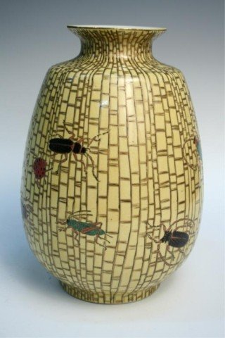 Japanese Late Edo Yellow Porcelain Vase with Insects